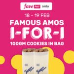 1 for 1 100g Cookies in a Bag at Famous Amos (FavePay)