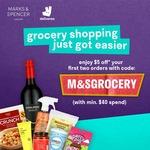 $5 off ($40 Min Spend) on First 2 Orders at Marks & Spencer via Deliveroo
