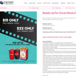 2 Movie Tickets for $15 (Monday to Thursday) or $22 (Friday to Sunday) at Cathay Cineplexes