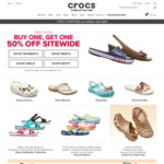 Buy 1, Get 1 at 50% off Sitewide @ Crocs