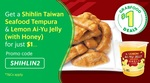 Seafood Tempura and Lemon Ai-Yu Jelly (with Honey) for $1 Delivered from Shihlin Taiwan via GrabFood