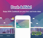 50% Cashback on Train & Bus Rides (Capped at $10/Month) with Singtel Dash