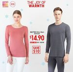 Heattech Extra Warm Inner Wear for $14.90 (U.P. $24.90) at UNIQLO