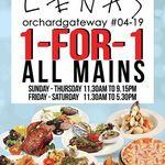 1 For 1 Mains at Lenas (Orchard Gateway)