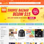 20% Off Shopee Bazaar Below $15 (Capped at $5) at Shopee
