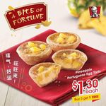 KFC - Pineapple Portugese Egg Tarts for $1.30 Each, or Buy 5 and Get 1 Free ($6.50)