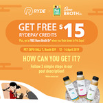 Free $15 RydePay Credits from RYDE (Facebook/Instagram Required, Pet Expo)