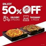 50% off 1 Pizza (Takeaway) or 2 Pizzas (Delivery) at Pizza Hut