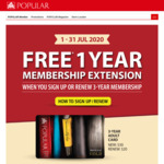 Bonus 1 Year Membership Extension with 3 Year Membership Sign Ups ($20-$30) or Renewals ($15-$20) at Popular