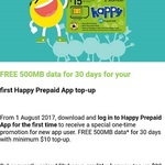 Free 500MB Data (30 Day Expiry) with $10 Minimum Top Up for First Time StarHub Happy Prepaid App Users