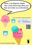 Buy a Regular Scoop and Get a Bonus 2nd Scoop with Facebook Like at Andersen's of Denmark