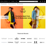 20% off Sitewide at Zalora ($120 Minimum Spend) - 11.11 Singles Day 1 Hour Flash Sale