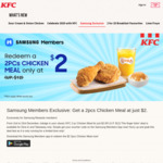 2pcs Chicken Meal for $2 (U.P. $12) at KFC [Samsung Members]