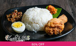 1 for 1 Indonesian Nasi Uduk & Drink for $7.90 (U.P. $15.80) at Kueh & Mee via Fave