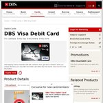 $10 Cashback with $200+ Spend on New DBS Visa Debit Cards (Also 5% Cashback on All PayWave Purchases)