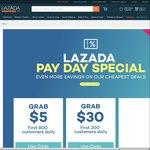 Lazada - $5 off (Minimum $30 Spend), $30 off (Minimum $200 Spend) or $100 off (Minimum $600 Spend)