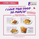 1-for-1 Garlic Honey Chicken with Rice, Homemade Drinks, Tom Yum Fried Rice and Pad Thai @ Pope Jai Thai