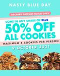 50% off All A-La-Carte Cookies at Nasty Cookie on Nasty Blue Day (Wear Any Shade of Blue)