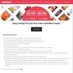 $15 off ($100 Minimum Spend) or $30 off ($160 Minimum Spend) for New Customers at RedMart