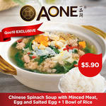 $5.90 (U.P. $11.80) A-One Claypot House Chinese Spinach Soup with Minced Meat Eggs and Salted Egg Set via Qoo10