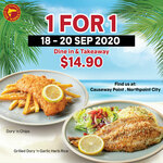 1 for 1 Dory 'n Chips / Grilled Dory 'n Garlic Herb Rice ($14.90) at Manhattan Fish Market [Causeway Point/Northpoint City]