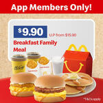 Breakfast Family Meal for $9.90 (U.P. from $15.90) at McDonald's via App