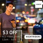 $3 off Nightly uberX and uberPOOL Rides with Uber (12am to 6am, July)