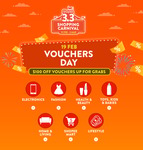 Voucher Day at Shopee: $8-$100 off or 10%-15% off Selected Categories