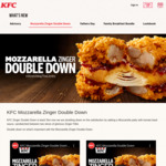 1 for 1 Mozzarella Zinger Double Down at KFC