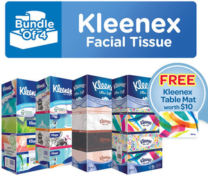20 Boxes Kleenex Tissue Paper + Free Table Mat $15.90 + $3.99 Delivery @ Kimberly Clark Official Store via Qoo10