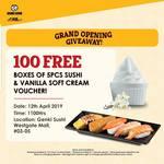 Free Box of Sushi (5pcs) and Vanilla Soft Cream Return Voucher at Genki Sushi (Westgate)