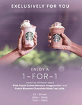 Starbucks: 1-for-1 Pink Peach Creme Blossom Frappuccino® and Peach Blossom Chocolate Black Tea Latte (23 to 25 March '20)