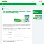 Free Denture Adhesive Cream and Denture Cleanser Samples Delivered from Polident/GSK