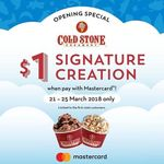 $1 Signature Creation Ice Cream at Cold Stone Creamery (Waterway Point, Mastercard Cardholders)