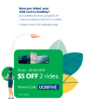$5 off 2x Rides with Grab (UOB Cards)