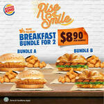 Breakfast Bundle for 2 at $8.90 Per Bundle at Burger King