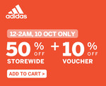 50% off Storewide + Extra 10% off at adidas via Shopee (12-2am)