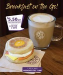 Ham, Cheese & Egg Muffin + Small Latte for $5.50 (or 2 for $10) at The Coffee Bean & Tea Leaf