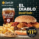 El Diablo Signature Beef Burger, Regular Fries, Chocolate Chip Cookie and Regular Coca-Cola Drink for $11.90 at Carl's Jr