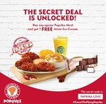 1 Free Atom Ice-Cream w/ Upsize Paprika Meal Purchase at Popeyes