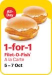 1 for 1 Filet-O-Fish at McDonald's (via App)