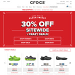 30% off Sitewide (Includes Sale Items) + Free Shipping on All Orders at Crocs [Black Friday Offer]