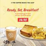 Scrambled Eggs & Toast with Any Small Beverage for $4.90 at The Coffee Bean & Tea Leaf (Weekdays, Until 11am Daily)