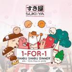 1 for 1 Shabu Shabu Dinner at Suki-Ya (Plaza Singapura, Minimum 1 Drink Purchase Required)
