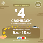 $4 Cashback on RydePOOL with RYDE (6am-10am, Min $10 Fare, Mastercard/Visa)