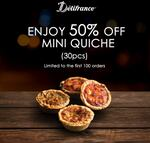 50% off Delifrance Mini Quiche (Pack of 30pcs) on D'mart