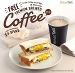 Free Cup of Coffee with Minimum $3 Spend at BreadTalk