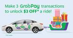 $3 off a Grab Ride after Making 3 In-Store GrabPay Transactions ($6 Min Spend) at Tanjong Pagar Centre