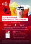 1 for 1 Drinks at Gong Cha via Singtel Rewards (Singtel Customers)