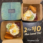 2 Nasi Lemak Setse for $10 at CRAVE Nasi Lemak & Teh Tarik (Joo Koon)